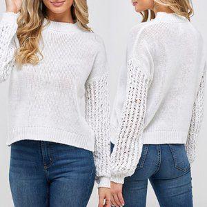 White Loose Knit Sleeve Sweater {Montrez}